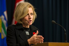 Premier Rachel Notley speaks about the U.S. cancellation of the Keystone XL pipeline at the Alberta Legislature in Edmonton, Alta., on Friday November 6, 2015. Ian Kucerak/Postmedia Network