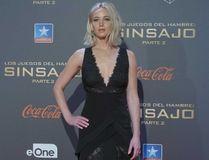 Jennifer Lawrence at the The Hunger Games: Mockingjay, Part 2' Madrid premiere on November 10, 2015, before she took a tumble. (WENN.COM)