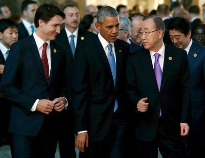 Justin Trudeau, Barack Obama, Ban Ki-moon