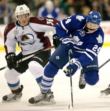 Toronto Maple Leafs Peter Holland (24 beats  Colorado Avalanches' Chris Wagner in Toronto on Tuesday November 17, 2015. Craig Robertson/Toronto Sun/Postmedia Network