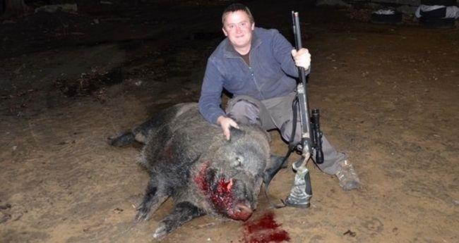 Thomas Blair, wild boar shot near Moose Creek