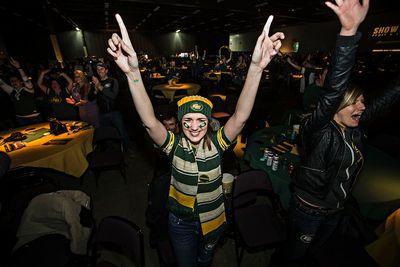 Kayla Doucet celebrates the Eskimos' victory during the Edmonton Eskimos Grey Cup party at the Edmonton Expo Centre in Edmonton, Alta., on Sunday, Nov. 29, 2015. Codie McLachlan/Edmonton Sun/Postmedia Network