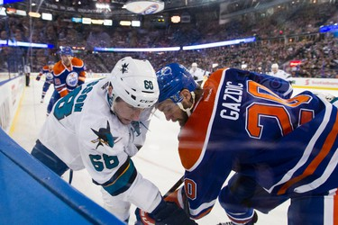 Edmonton \o San Jose \s during a NHL game between the Edmonton Oilers and the San Jose Sharks at Rexall Place in Edmonton, Alta. on Wednesday December 9, 2015. Ian Kucerak/Edmonton Sun/Postmedia Network