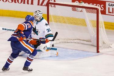 Edmonton centre Leon Draisaitl (29) scores on San Jose goaltender Martin Jones (31) during the second period of a NHL game between the Edmonton Oilers and the San Jose Sharks at Rexall Place in Edmonton, Alta. on Wednesday December 9, 2015. Ian Kucerak/Edmonton Sun/Postmedia Network