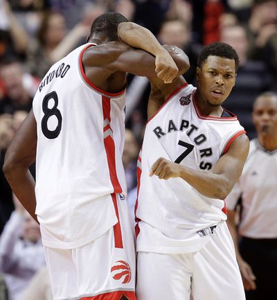 Toronto Raptors Kyle Lowry celebrates  against the   Milwaukee Bucks  in Toronto, Ont. on Friday December 11, 2015. Craig Robertson/Toronto Sun/Postmedia Network
