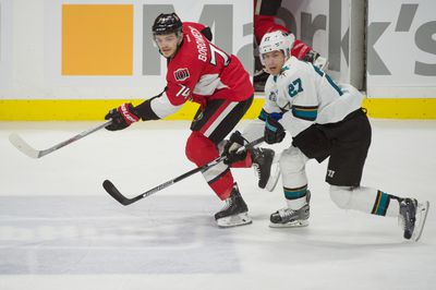 Dec 18, 2015; Ottawa, Ontario, CAN; Ottawa Senators defenseman Mark Borowiecki (74) and San Jose Sharks right wing Joonas Donskoi (27) watch the puck in the third period at the Canadian Tire Centre. The Senators won 4-2. Mandatory Credit: Marc DesRosiers-USA TODAY Sports