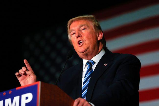 Republican presidential candidate Donald Trump speaks during a campaign stop in Council Bluffs, Iowa, on Dec. 29, 2015. (AP Photo/Nati Harnik)