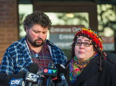 Jennifer Neville-Lake and husband Edward Lake talk to media at the courthouse in Newmarket on Wednesday January 6, 2016. (Ernest Doroszuk/Toronto Sun)