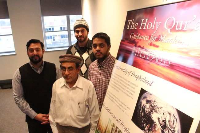 From left, Iman of Ahmadiyya Muslim Community, Imtiaz Ahmad, Azizullah, Waheed Ahmed and Shahjehan Ahmed organized a public awareness event to demystify the Koran at the Cornwall Public Library on Saturday. Greg Peerenboom/Cornwall Standard-Freeholder