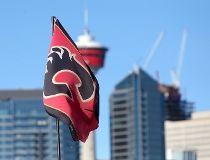 Calgary flames logo flag skyline