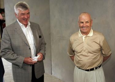 Pat Quinn and Dave Keon talk on June 16, 2005 (Craig Robertson/Toronto Sun)