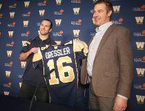 The Winnipeg Blue Bombers signed Weston Dressler (left), seen with Winnipeg Blue Bombers general manager Kyle Walters.