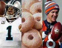 (L)Carolina Panthers quarterback Cam Newton and Denver Broncos quarterback Peyton Manning. Denver Broncos quarterback Peyton Manning. (Jason Getz-USA TODAY Sports & AP Photo/David Zalubowski)
