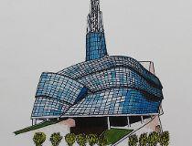 A sketch Trudeau drew of Winnipeg's human rights museum