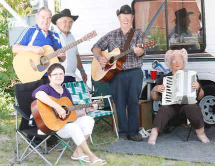 Linda Keuhl, Jackie Sarazin, Shirley Chaput, Ray Turcotte, Jim Nieman and Doug Stewart jam at the Sturgeon Falls Step Dance and Fiddle Festival in 2014. Nugget File Photo