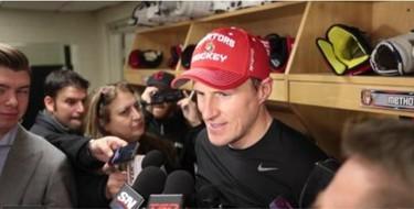 Dion Phaneuf talks to the media about his new team, the Ottawa Senators, Wednesday, Feb. 10, 2016 in Detroit. (DAN JANISSE/Postmedia Network)
