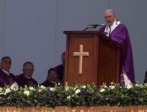 Pope Francis celebrates Mass in Ecatepec, Mexico, Sunday, Feb. 14, 2016. (AP Photo/Christian Palma)