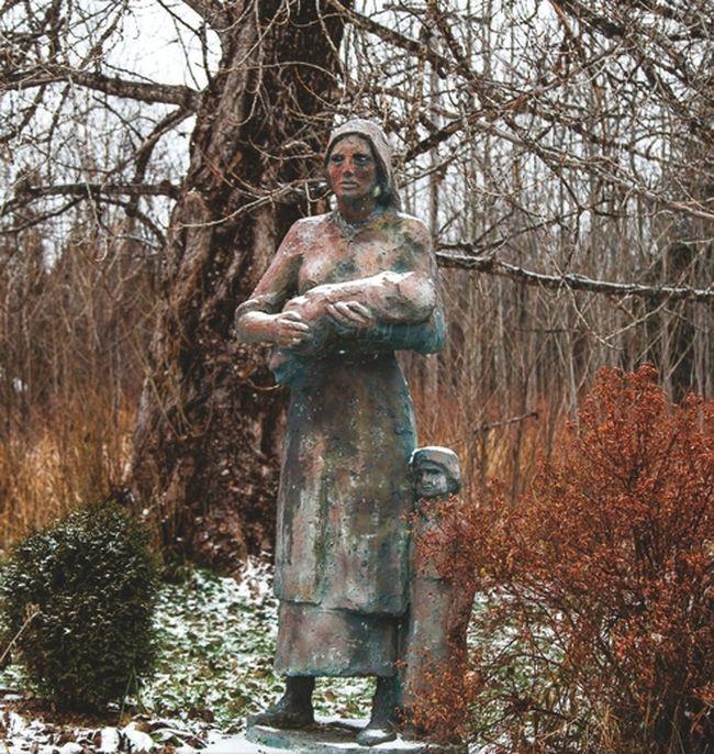 Interned Madonna statue.