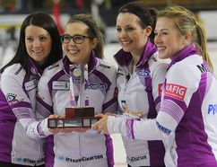 2016 Manitoba Scotties champions - (right to left) Kristin MacCuish, Liz Fyfe, Selena Kaatz and Kerri Einarson. Postmedia Network