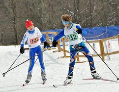 Kawartha Nordic Ski Club member Joshua Feick tags his teammate at the 2016 Ontario Midget Nordic Ski Championships hosted by Kawartha Nordic. SUBMITTED PHOTO