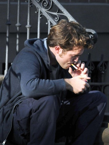 "2009: Robert Pattinson on the set of ""Remember Me."" (WENN.COM)"