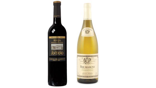 (Left) Marques de Carrion 2009 Antaño Reserva  and Louis Jadot 2014 Bourgogne Chardonnay Burgundy, France.