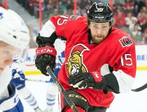 Ottawa Senators center Zack Smith (15) chases Toronto Maple Leafs defenseman Morgan Rielly (44) in the second period at the Canadian Tire Centre. Marc DesRosiers-USA TODAY Sports
