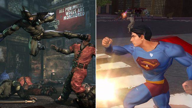"""Batman: Arkham City"" (left) and ""Superman Returns."" (Screenshots)"