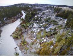 Landslide in Horton township near Renfrew Photo taken by a drone that belongs to the Renfrew County Paramedic Service