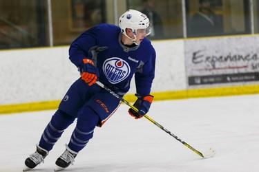Edmonton's \93\ skates during an Edmonton Oilers practice at Leduc Recreation Centre in Leduc, Alta., on Friday April 8, 2016. Photo by Ian Kucerak