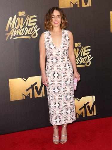 Emilia Clarke arrives at the 2016 MTV Movie Awards in Burbank, California April 9, 2016. (Brian To/WENN.COM)