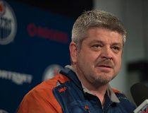 Edmonton Oilers coach Todd McLellan addresses media at Rexall Place.