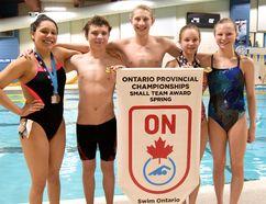 South Western Aquatics swimmers from left Roxy Ramirez, Dalton Sanderson, Ryan Jensen, Amy Meharg and Hailey Granger with SWA's 2016 Ontario Spring Provincial Championships Small Team Award.CHRIS ABBOTT/TILLSONBURG NEWS