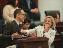 Minister of Finance Joe Ceci and Premier Rachel Notley