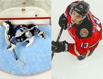 Winnipeg Jets goalie Ondrej Pavelec and Johnny Gaudreau. (USA Today Sports/Postmedia)