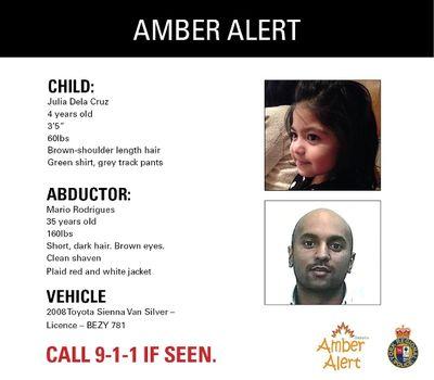 Amber Alert poster tweeted by York Regional Police on April 18, 2016 for Julia Dela Cruz.