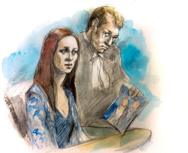 Marlena Meneses testifies at the Tim Bosma murder trial Thursday, April 21, 2016. (Pam Davies sketch)