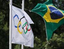 Olympic flag Brazilian flag