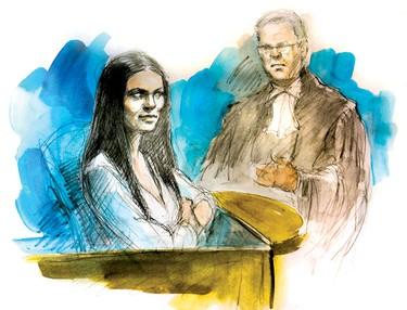 Christine Noudga testifies at the Tim Bosma murder trial of her ex Dellen Millard and Mark Smitch in Hamilton April 27, 2016. (Pam Davies sketch)