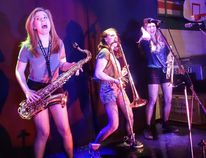 Supplied photo Evolutionary Band's Faith Gravestock on sax, Trinity Portelance on trombone, and Catherine Diagle on trumpet.