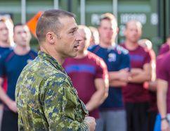 Lt.-Col. Tim Arsenault, commanding officer 3rd Battalion, Royal 22e Regiment, speaks to Canadian Armed Forces members during his visit to Glebokie, Poland on September 2, 2015 during Operation REASSURANCE. (Cpl. Nathan Moulton/Canadian Armed Forces)