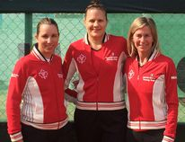 Kingston native Paula Myslivecek, left, with Canadian teammates Maureen Drake, centre, and Jennifer Bishop at the ITF Young Seniors World Championships in Umag, Croatia. (Supplied photo)