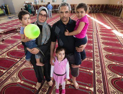 Fort McMurray wildfire evacuees Mohamed Bouchaala, his wife Fatma Louati, and their children Shayma Bouchaala, 5, Hend Bouchaala