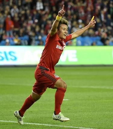 May 7, 2016; Toronto, Ontario, CAN;  Toronto FC forward Tsubasa Endoh (9) celebrates after scoring a goal against FC Dallas  in the first half at BMO Field. Toronto won 1-0. Mandatory Credit: Dan Hamilton-USA TODAY Sports