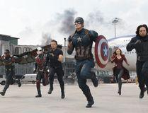 "In this image released by Disney, Anthony Mackie, from left, Paul Rudd, Jeremy Renner, Chris Evans, Elizabeth Olsen and Sebastian Stan appear in a scene from ""Captain America: Civil War."" (Disney-Marvel)"