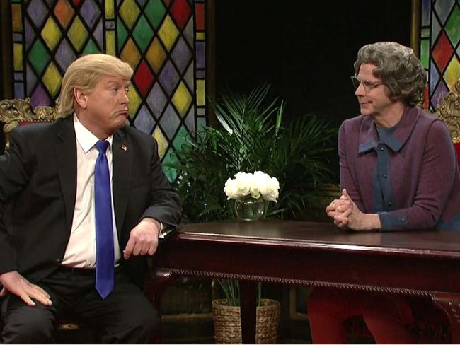 Church Lady (Dana Carvey) interviews Donald Trump (Darrell Hammond) on Saturday Night Live. (Handout photo)