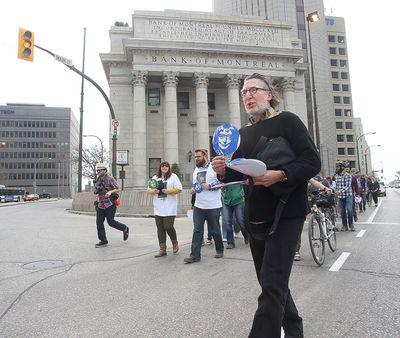 Wins Bridgman leads participants in Jane's Walk across Portage and Main in Winnipeg, Man. Sunday May 08, 2016. Brian Donogh/Winnipeg Sun/Postmedia Network