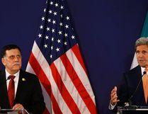 Libyan prime minister-designate Fayez al-Sarraj (L) and U.S. Secretary of State John Kerry attend a news conference in Vienna, Austria, May 16, 2016. REUTERS/Leonhard Foeger/Pool