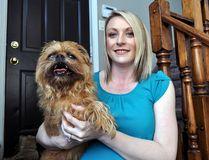 Local entrepreneur Amber Fawcett and her dog Ferris in London Ont. May 12, 2016. CHRIS MONTANINI\LONDONER\POSTMEDIA NETWORK