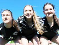 The Sarnia Saints senior women's rugby team, including from left Erin Esplen, Bianca Sfalcin and Cassie Kerrigan, will open a new season Saturday at Norm Perry Park. The Saints host Hamilton at 12 p.m. (Terry Bridge/Sarnia Observer/Postmedia Network)